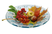 Seasonal glass dish deco — Stock Photo