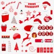 Many christmas icons — Stock Vector