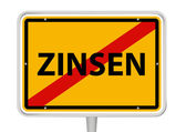 "German placename sign with word ""Zinsen"" — Stok Vektör"