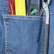 Stock Photo: Tools on blue jeans pocket