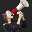 Woman with a megaphone — Stock Photo #10777548
