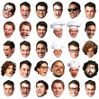 Big collection of person faces over white background — Foto Stock #11367197
