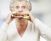 Senior woman eating a healthy sandwich, indoor — Stock Photo