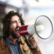 Man with megaphone — Stock Photo #11581376