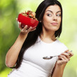 Woman holding breakfast bowl — Stock Photo #11581409