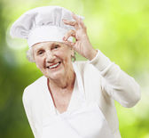 Senior woman cook doing an excellent symbol against a nature bac — Stock Photo