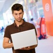 Young Man Using Laptop — Stock Photo