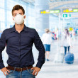 Man With Mouth Mask - Stock Photo