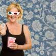 Happy Woman Wearing 3D Glass - Stock Photo
