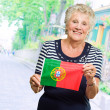 Portrait Of A Elderly Woman Holding Flag — Foto de Stock