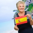 Portrait Of A Elderly Woman Holding Flag — Stock Photo