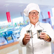 Portrait Of A Chef Holding Drink — Stock Photo