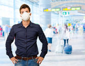 Man med mun mask — Stockfoto