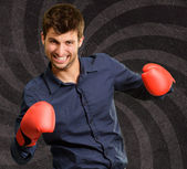 Portrait Of A Man In Red Boxing Glove  — Stockfoto