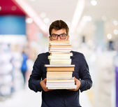 Young Man With Books — Stock Photo