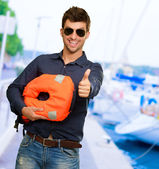 Happy Young Man Showing Thump Up — Stock Photo