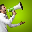 Portrait Of A Man Yelling Into A Megaphone — Stock Photo #11959574