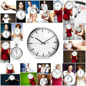 Portrait Of A Holding Clock — Stock Photo
