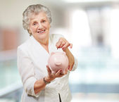 Portrait Of A Mature Woman With A Piggy Bank — Stock Photo