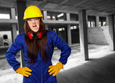 Woman Worker With Helmet — Stock Photo