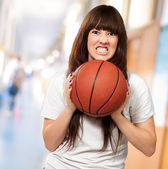 Portrait Of A Young Female With A Football Soccer Ball — Stock Photo