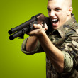 Soldier aiming - Stock Photo