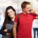 Portrait of happy students — Stock Photo