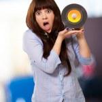 Shock Girl Showing Vinyl — Stock Photo #12094601