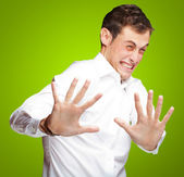 A Young Man Holding His Hands Out In Fear — Stock Photo
