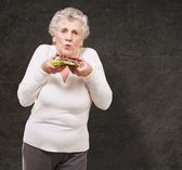 Ritratto di donna senior con un delizioso panino contro un — Foto Stock