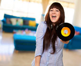 Portrait Of A Female Holding A Disc — Stock Photo
