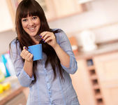 Beautiful Woman With Coffee And Cookies, Indoor — Stock Photo