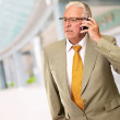Senior Man Talking On Phone — Stock Photo