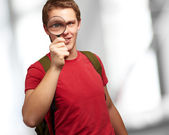 Portrait Of A Student Looking Through Magnifying Glass — Stock Photo