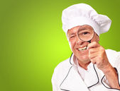 Portrait Of A Chef Holding Magnifying Glass — Stock Photo