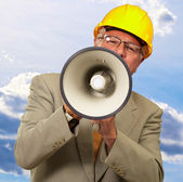 Portrait Of A Senior Man With Megaphone — Stock Photo