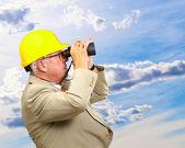 Senior Architect Looking Through Binoculars — Stock Photo
