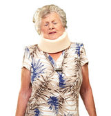 A Senior Woman Wearing A Neckbrace — Stock Photo