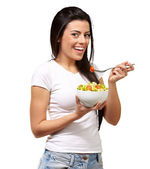Young Girl Eating Salad From Bowl — Stock Photo