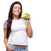 Portrait Of A Female Eating An Apple — Stock Photo