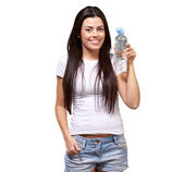 Young Girl Holding Bottle Of Water — Stock Photo