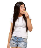 Woman Eating A Cereal Bar — Stock Photo