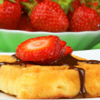 Waffle with chocolate and strawberry — Stock Photo