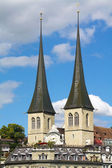 Twin towers of the church of St. Leodegar, Lucerne — Stock Photo