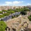 Rome, Roman Forun, Colosseum from high angle view — Stock Photo