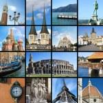 Постер, плакат: European landmarks collage