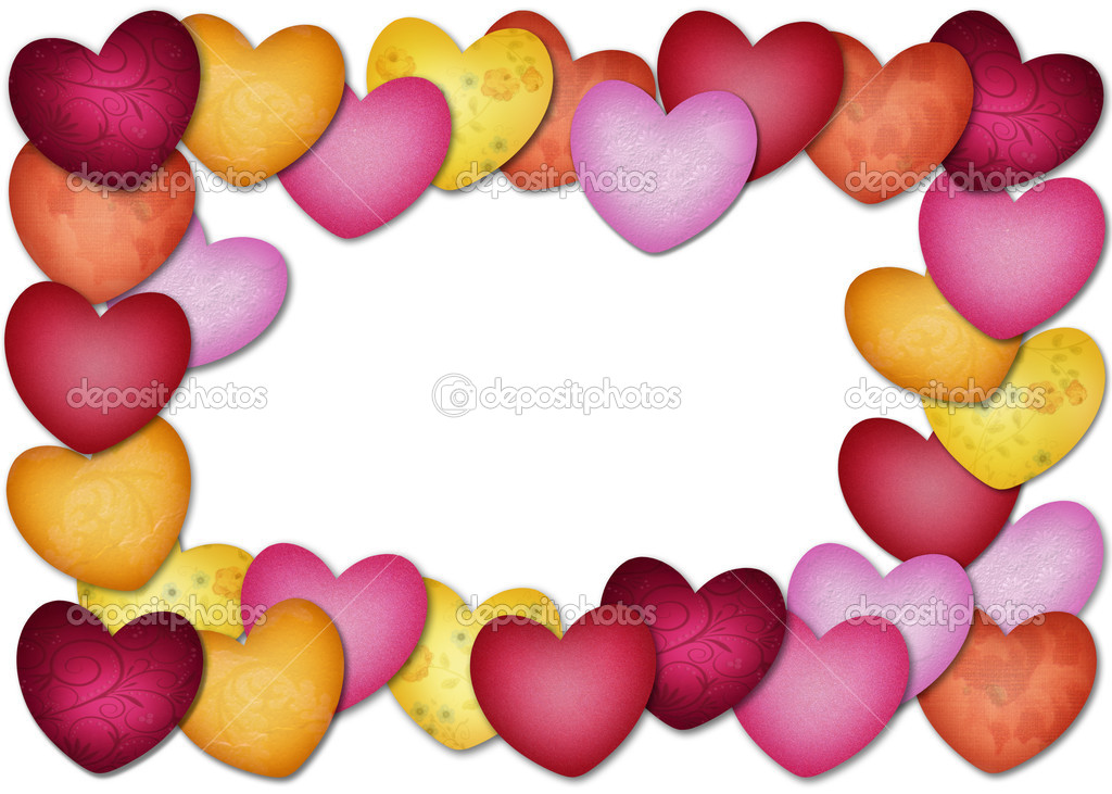 Colorful textured heart as a frame — Stock Photo #11395111