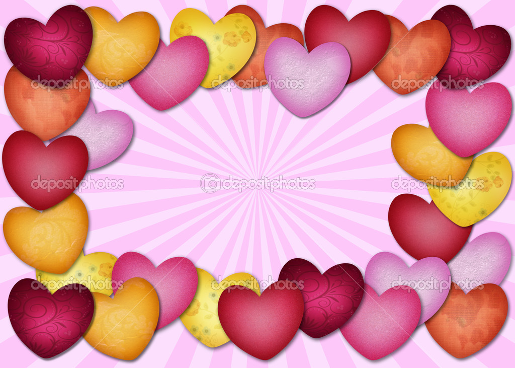 Colorful textured heart as a frame on a pink background — Stock Photo #11395117