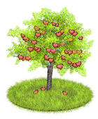 Heartshaped apples in an appletree — Stock Photo