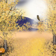 Stock Photo: Autumn landscape with golden asp trees pumpkin owl